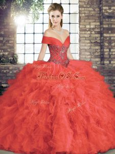 Sleeveless Tulle Floor Length Lace Up 15th Birthday Dress in Coral Red with Beading and Ruffles