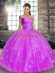 Modern Lavender Tulle Lace Up Sweet 16 Dresses Sleeveless Floor Length Beading and Appliques