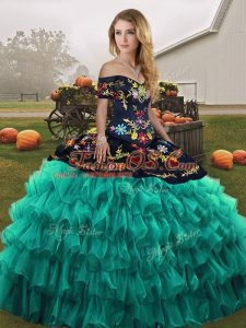 Sleeveless Floor Length Embroidery and Ruffled Layers Lace Up Vestidos de Quinceanera with Turquoise