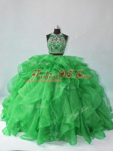 Fashion Organza Halter Top Sleeveless Backless Beading and Ruffles Quinceanera Dresses in Green