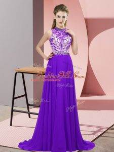 Purple Mother Of The Bride Dress Prom and Party with Beading Halter Top Sleeveless Brush Train Backless