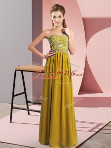 Sweetheart Sleeveless Mother Of The Bride Dress Floor Length Beading Brown Chiffon