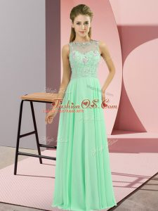 Floor Length Apple Green Mother Of The Bride Dress High-neck Sleeveless Zipper
