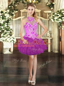 Fuchsia Ball Gowns Tulle Halter Top Sleeveless Embroidery and Ruffles Mini Length Lace Up Homecoming Dress