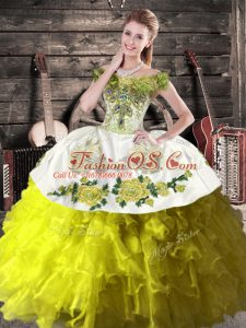 Olive Green Lace Up Off The Shoulder Ruffles Quinceanera Dress Organza Sleeveless