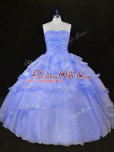Lavender Ball Gowns Organza Sweetheart Sleeveless Ruffles and Hand Made Flower Floor Length Lace Up 15 Quinceanera Dress