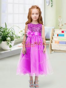 Lilac Scoop Neckline Sequins and Hand Made Flower Toddler Flower Girl Dress Sleeveless Zipper