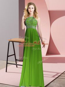 Chiffon Scoop Sleeveless Backless Beading Juniors Party Dress in Green
