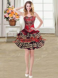 Sweetheart Sleeveless Lace Up Burgundy Taffeta