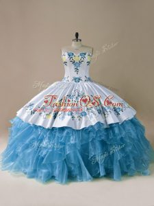 Fashion Sweetheart Sleeveless Organza Quinceanera Dresses Embroidery and Ruffles Lace Up