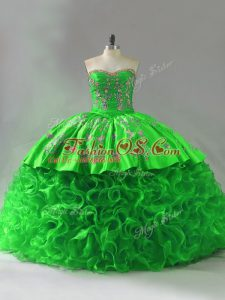 Fabric With Rolling Flowers Lace Up Sweetheart Sleeveless Quinceanera Dresses Brush Train Embroidery and Ruffles
