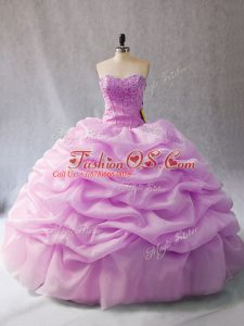 Lilac Sleeveless Floor Length Pick Ups Lace Up Quinceanera Gowns