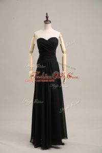 Fine Empire Homecoming Dress Online Black Sweetheart Chiffon Sleeveless Floor Length Zipper