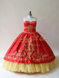 Smart Red Sleeveless Satin Lace Up Quinceanera Gown for Sweet 16 and Quinceanera