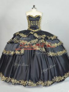 Suitable Black Lace Up Sweetheart Embroidery Sweet 16 Dresses Satin Sleeveless