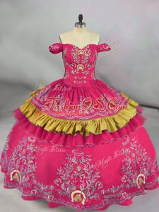 Pretty Off The Shoulder Sleeveless Quince Ball Gowns Floor Length Embroidery Hot Pink Satin