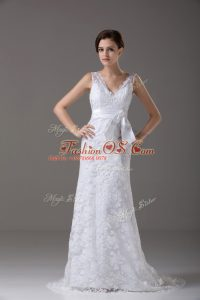 Noble Sleeveless Brush Train Lace and Belt Backless Bridal Gown