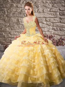 Sleeveless Court Train Lace Up Beading and Ruffled Layers Quince Ball Gowns