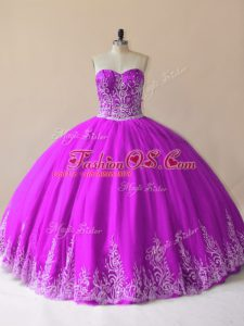 Unique Sweetheart Sleeveless Tulle Ball Gown Prom Dress Embroidery Lace Up