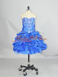 Mini Length Blue Celebrity Evening Dresses Organza and Taffeta Sleeveless Beading and Ruffles and Pick Ups