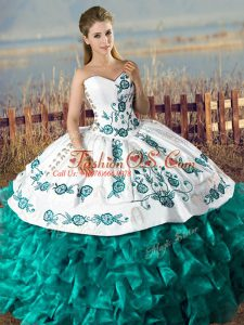 Turquoise Sleeveless Floor Length Embroidery and Ruffles Lace Up Sweet 16 Dresses