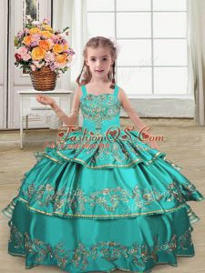 Lovely Turquoise Lace Up Little Girl Pageant Dress Embroidery and Ruffled Layers Sleeveless Floor Length