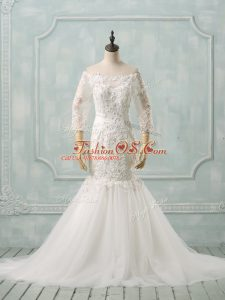 Stunning White Lace Up Off The Shoulder Lace Wedding Dresses Tulle 3 4 Length Sleeve Watteau Train