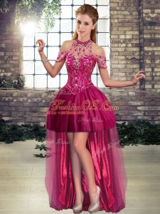 Fashion Fuchsia Halter Top Neckline Beading Cocktail Dresses Sleeveless Lace Up
