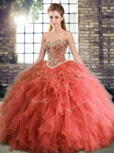 Luxury Sleeveless Floor Length Beading and Ruffles Lace Up Quinceanera Dress with Coral Red