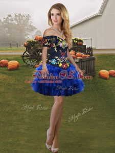 Royal Blue Organza Lace Up Off The Shoulder Sleeveless Mini Length Prom Party Dress Embroidery and Ruffled Layers