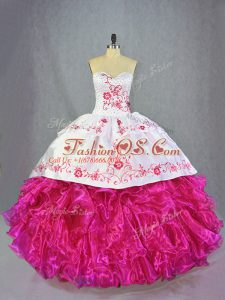 Custom Fit Sweetheart Sleeveless 15 Quinceanera Dress Brush Train Beading and Embroidery and Ruffles Hot Pink Organza