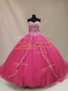 Fantastic Hot Pink Sleeveless Beading Lace Up 15 Quinceanera Dress