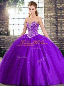 Purple Sweetheart Neckline Beading Sweet 16 Quinceanera Dress Sleeveless Lace Up