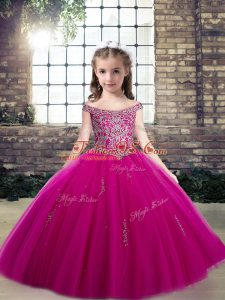 Perfect Floor Length Fuchsia Pageant Dresses Off The Shoulder Sleeveless Lace Up