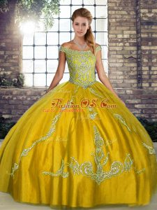 Gorgeous Tulle Sleeveless Floor Length Ball Gown Prom Dress and Beading and Embroidery