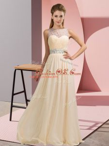 Champagne Scoop Neckline Beading Mother Of The Bride Dress Sleeveless Backless