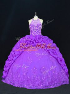 High-neck Sleeveless Lace Up 15 Quinceanera Dress Purple