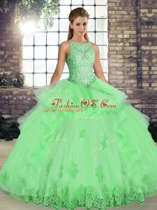 Latest Lace and Embroidery and Ruffles Quinceanera Dress Lace Up Sleeveless Floor Length