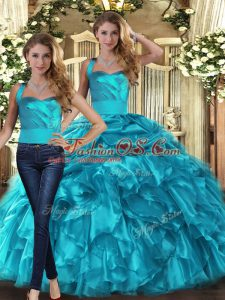 Beautiful Floor Length Teal Quince Ball Gowns Halter Top Sleeveless Lace Up