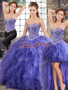 Floor Length Three Pieces Sleeveless Lavender Sweet 16 Quinceanera Dress Lace Up