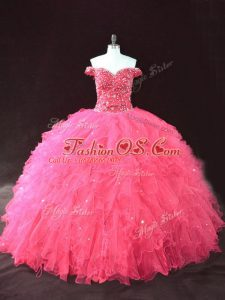 Deluxe Off The Shoulder Sleeveless Lace Up Sweet 16 Dress Hot Pink Tulle
