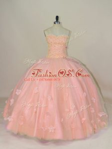 Free and Easy Pink Sweetheart Neckline Hand Made Flower Quinceanera Gown Sleeveless Lace Up