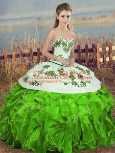 Sweet Sleeveless Organza Floor Length Lace Up Quinceanera Gown in Green with Embroidery and Ruffles and Bowknot