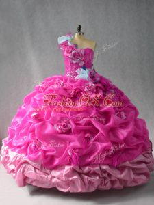 Free and Easy Fuchsia Quinceanera Dress Sweet 16 and Quinceanera with Pick Ups and Hand Made Flower One Shoulder Sleeveless Lace Up