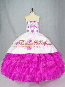 Flirting Ball Gowns Quinceanera Dresses Fuchsia Sweetheart Organza Sleeveless Floor Length Lace Up