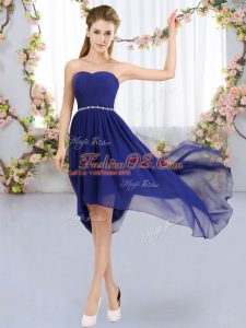 Custom Fit Sleeveless High Low Beading Lace Up Bridesmaid Gown with Royal Blue