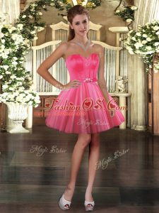 Noble Coral Red Homecoming Dresses Prom and Party with Belt Sweetheart Sleeveless Lace Up