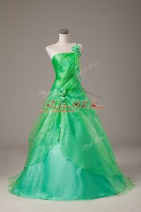 Suitable Organza One Shoulder Sleeveless Lace Up Hand Made Flower Sweet 16 Dress in Green