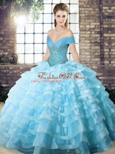 Sleeveless Organza Brush Train Lace Up Quince Ball Gowns in Aqua Blue with Beading and Ruffled Layers