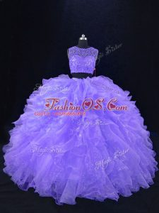 Sumptuous Scoop Sleeveless Quinceanera Dress Floor Length Beading and Ruffles Lavender Organza